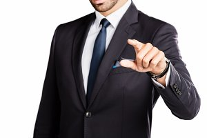 Businessman pointing his finger.