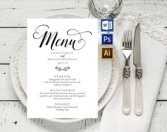 Wedding Menu Template Wpc237