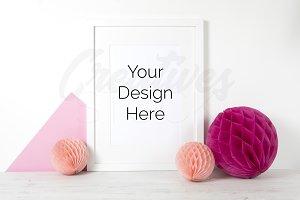 Pink A4 Frame Mock Up - PSD/JPEG