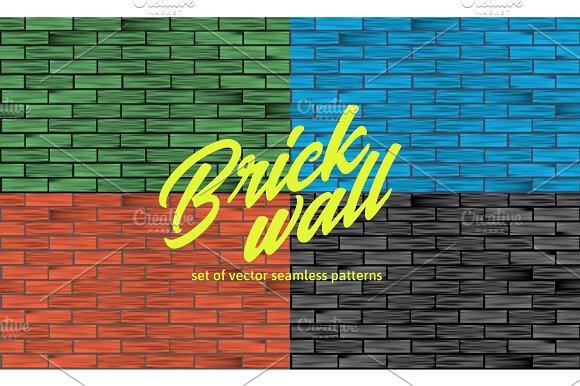 White Brick Wall Texture Set Of Seamless Patterns