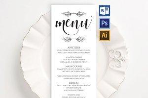 Wedding Menu template Wpc240