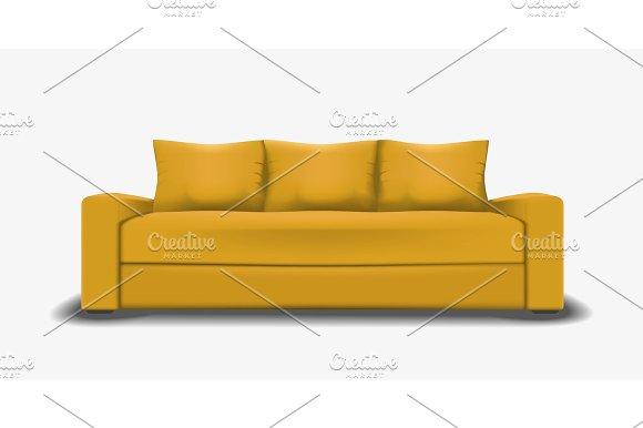 Yellow Sofa Single Object Realistic Design