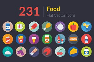 231 Flat Food Icons