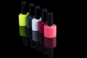 multi-colored vials of nail polish
