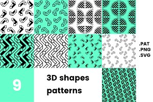 3D shapes pattern pack