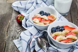 Independence day breakfast - oat meal with strawberry and blueberry