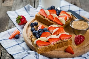 Independence day breakfast - toast with strawberry and blueberry