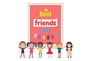 Best Friends Day Poster with Cheerful Children