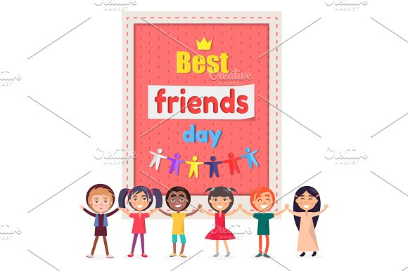 Best Friends Day Poster With Cheerful Children