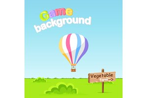Game Background. Vegetable Farm Sign Board Vector