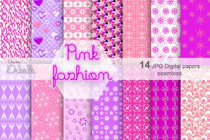 Pink Fashion Digital Paper pattern