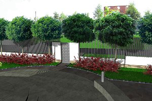 Front yard design ideas, 3d render