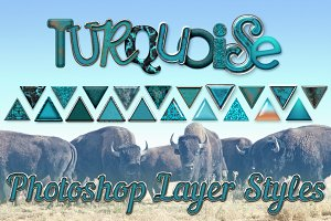 20 Turquoise Photoshop Layer Styles