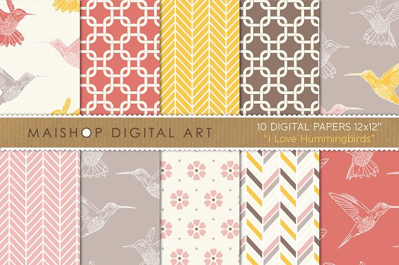 Digital Paper - I Love Hummingbirds