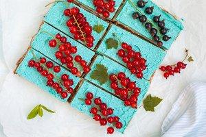 Blue raw vegan cheesecake