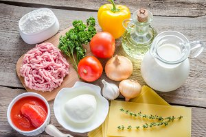 Ingredients for lasagne