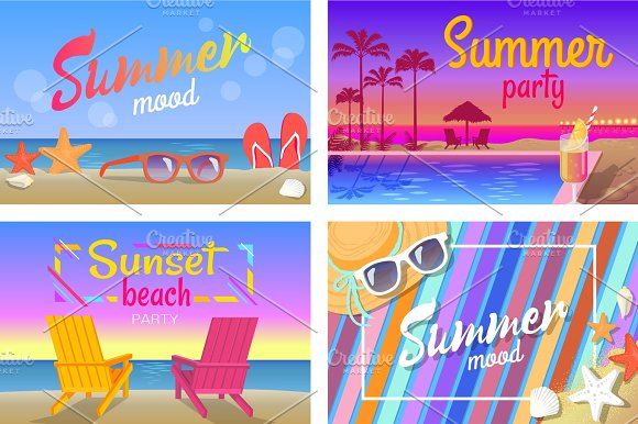 Summer Beach Party With Good Mood Posters Set