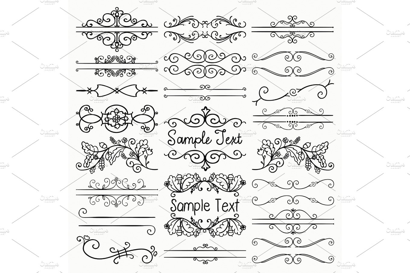 Decorative Text Frames, Swirls ~ Graphic Objects