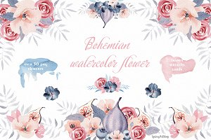 Bohemian watercolor flower Big Set