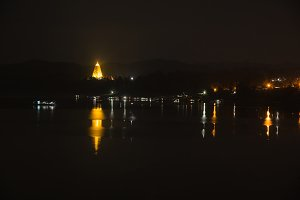 Night view of Sangkhlaburi,Thailand