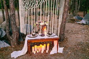 Wedding decorations in rustic style. Outing ceremony. Wedding in nature.