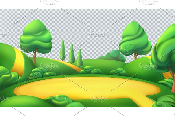 Park isolated 3d vector panorama