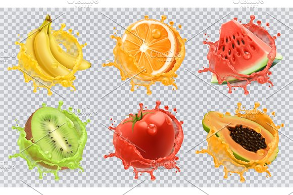 Fruits And Splashes Vector Icon Set