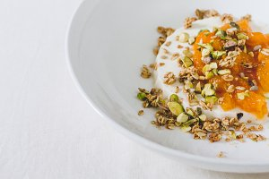 Panna cotta with apricot and granola
