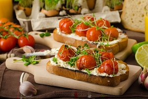 Roasted Cherry Tomato Sauce and Ricotta on Toast