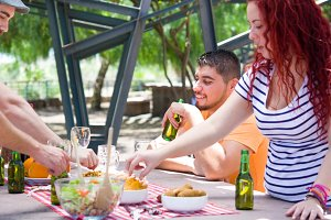Friends enjoying picnic day