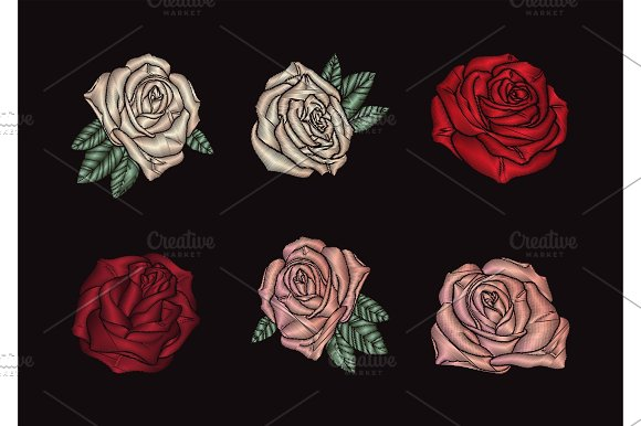 Roses Embroidery On Black Background