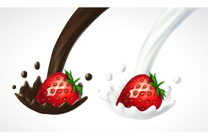Strawberry with milk and chocolate splash