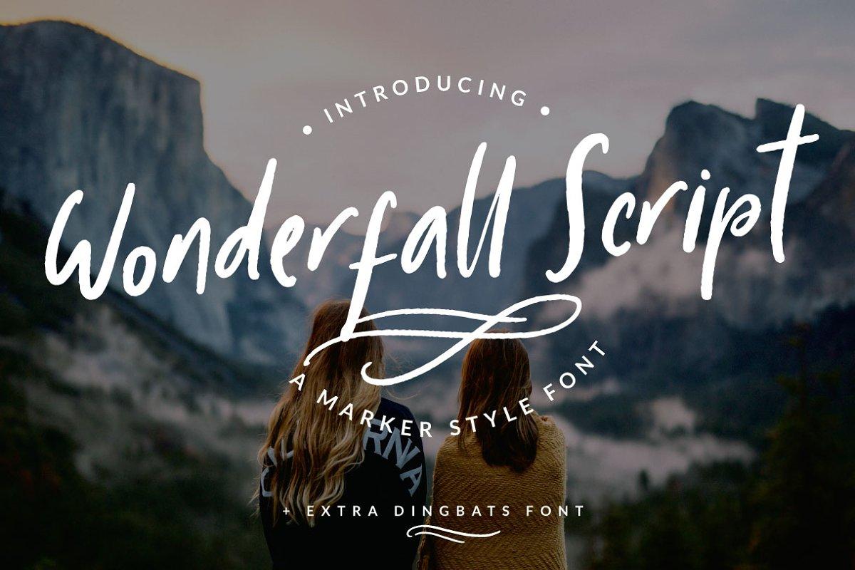 Wonderfall Script + Dingbats ~ Script Fonts ~ Creative Market