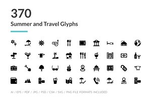 370 Summer and Travel Glyph Icons