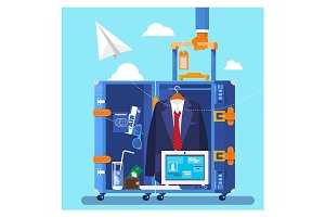 Travel, business trip concept. Businessman holding travel suitcase Vector illustration in flat style