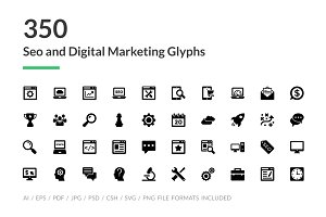 350 SEO and Digital Marketing Icons