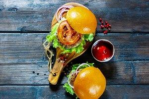 Tasty vegan burgers
