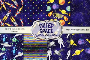 Watercolor Outer Space pattern set