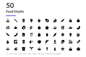 50 Food Glyph Icons