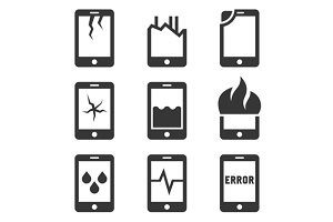 Mobile Phone Damage Icon Set