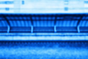 Square blue train station blurred abstraction background