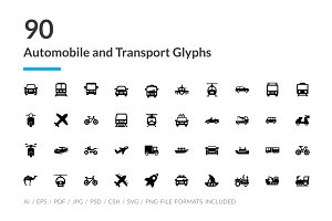 90 Automobile and Transport Icons