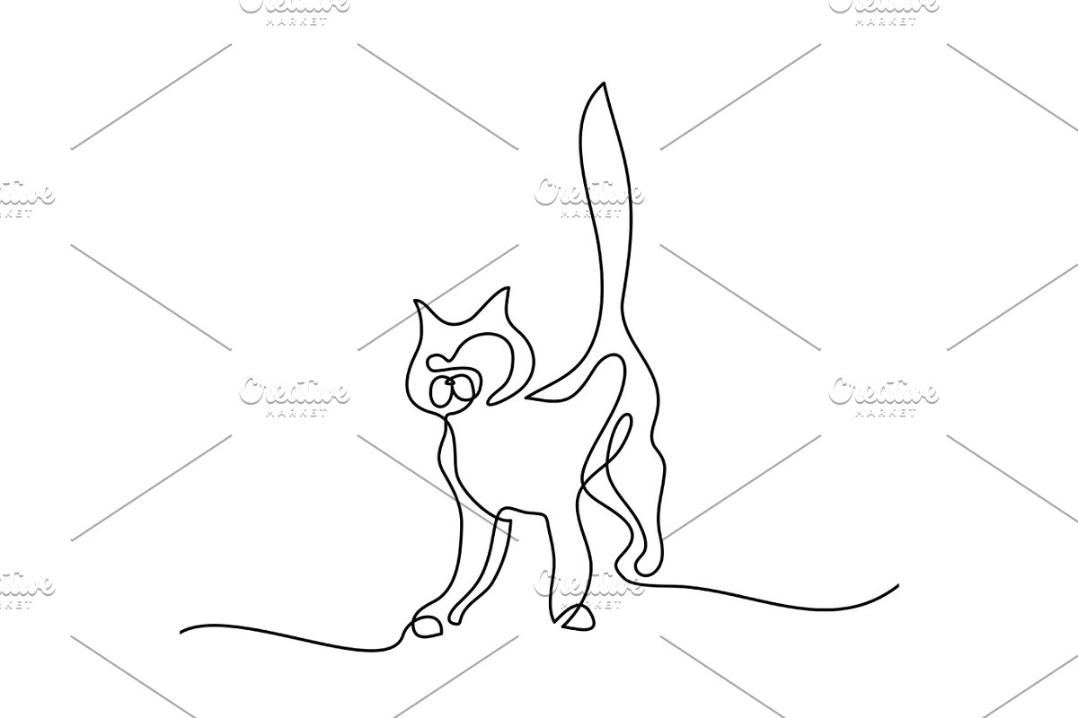 Cat silhouette logo one line drawing
