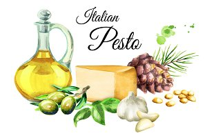 Italian pesto. Watercolor
