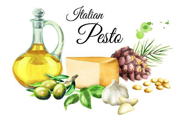 Italian pesto. Watercolor