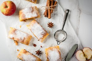 Apple strudel with nuts and raisins