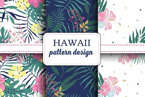 Hawaii seamless pattern set