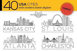 40 USA Cities Linear Skyline