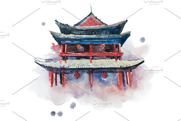 Watercolour Painting Of Xian Fortifications Sian City Wall China Aquarelle Illustration