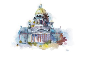 Hand painted drawing of Saint Isaac's Cathedral in St. Petersburg. Traditional Russian landmark, religious orthodox symbol